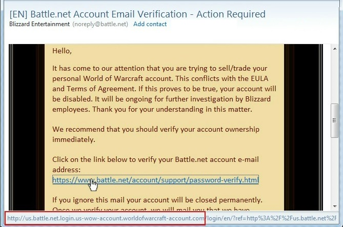 wow account scam mail
